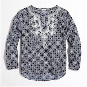 J.CREW Embroidered Long Sleeve Top-Blue/White-Med